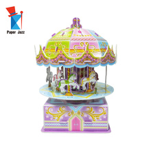 <span class=keywords><strong>3D</strong></span> <span class=keywords><strong>Puzzle</strong></span> Berputar Anak Hadiah Merry-Go-Round Carousel Music Box