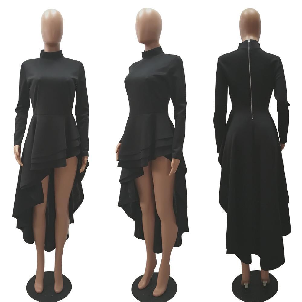Women Fashion Plus Size M-3XL Long Sleeve Dress Top Christmas Party Cute Irregular Hem Club Trendy Western Wear TosRS00078