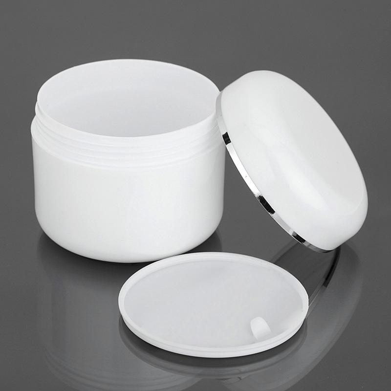 Empty 8oz 250g cosmetic white plastic face cream jars with silver edge