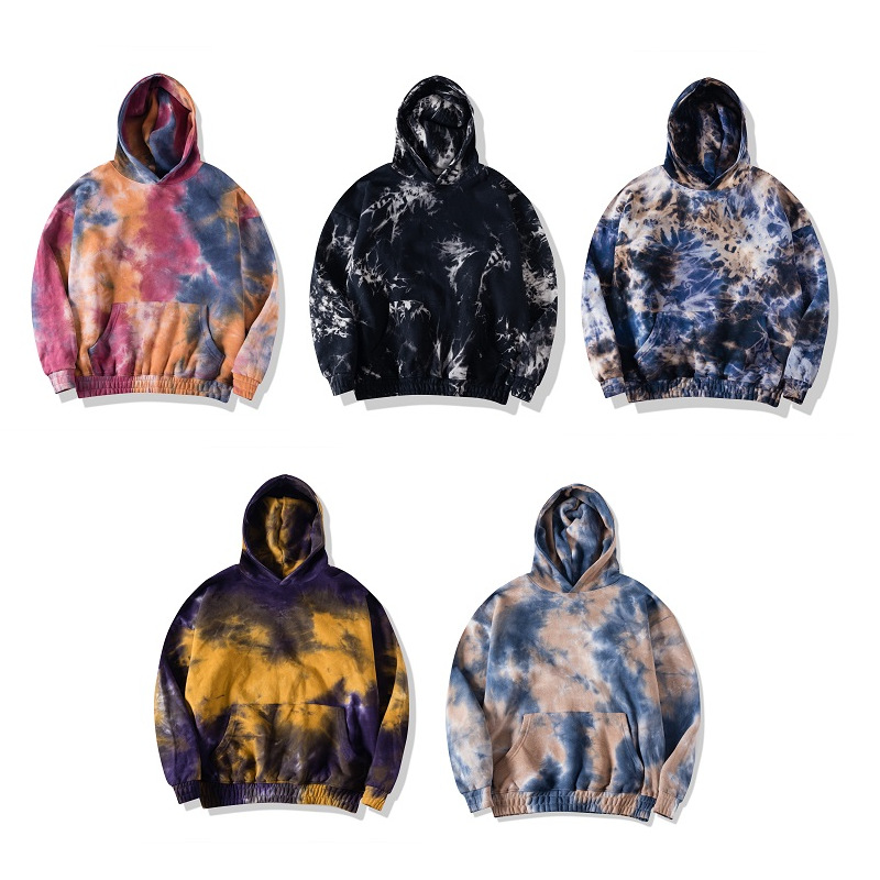 Custom Hot Selling Tie Dye <strong>Hoodies</strong> Mens 100% Cotton Fleece Acid Wash Hoodie Wholesale