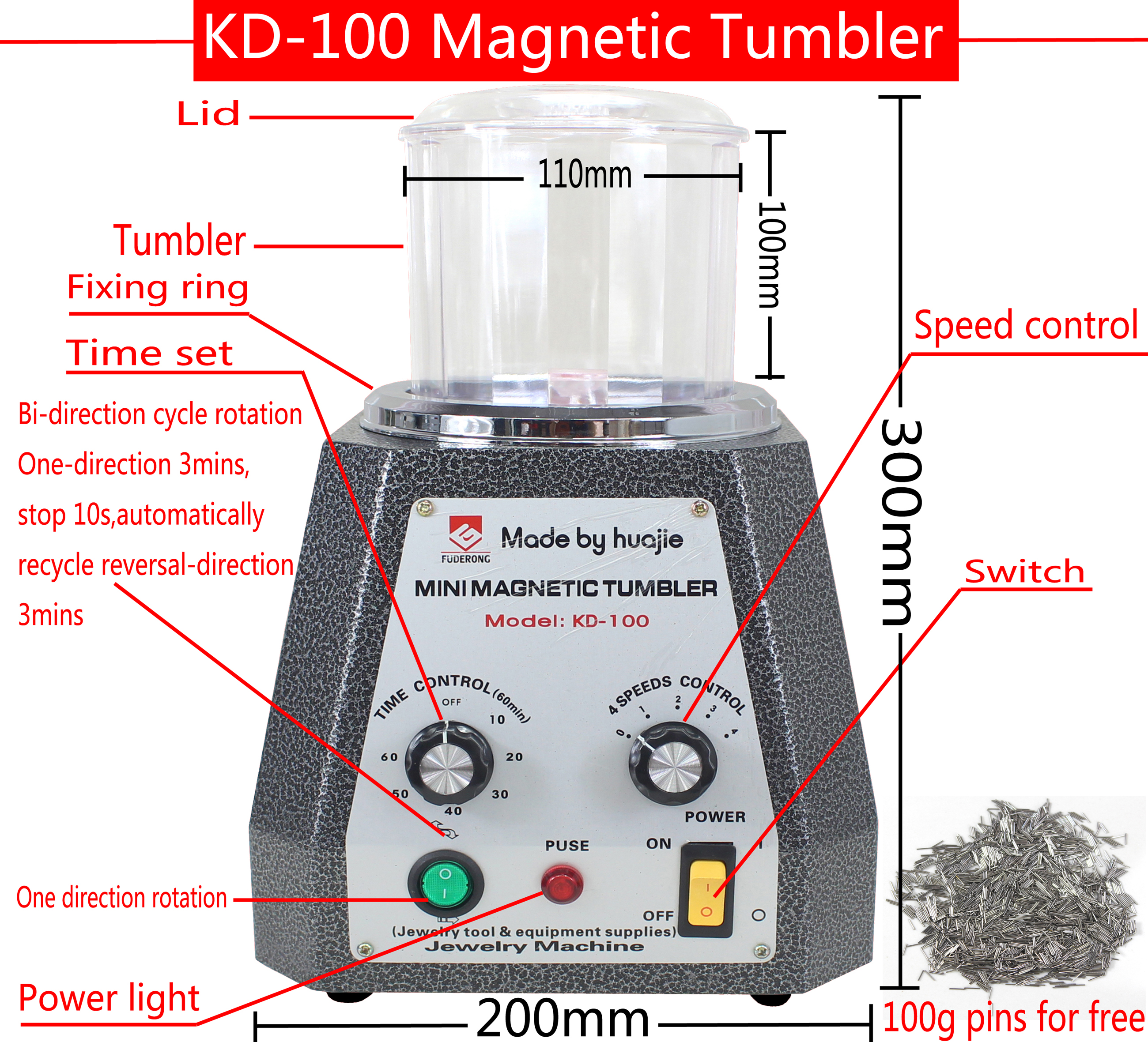 CE Certification! KD-100 Magnetic Tumbler, Jewelry Polishing Machine, Jewelry Cleaner 220V/110V