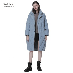 Winter Casual Turn Down Collar Style Padding Long Lady Jacket