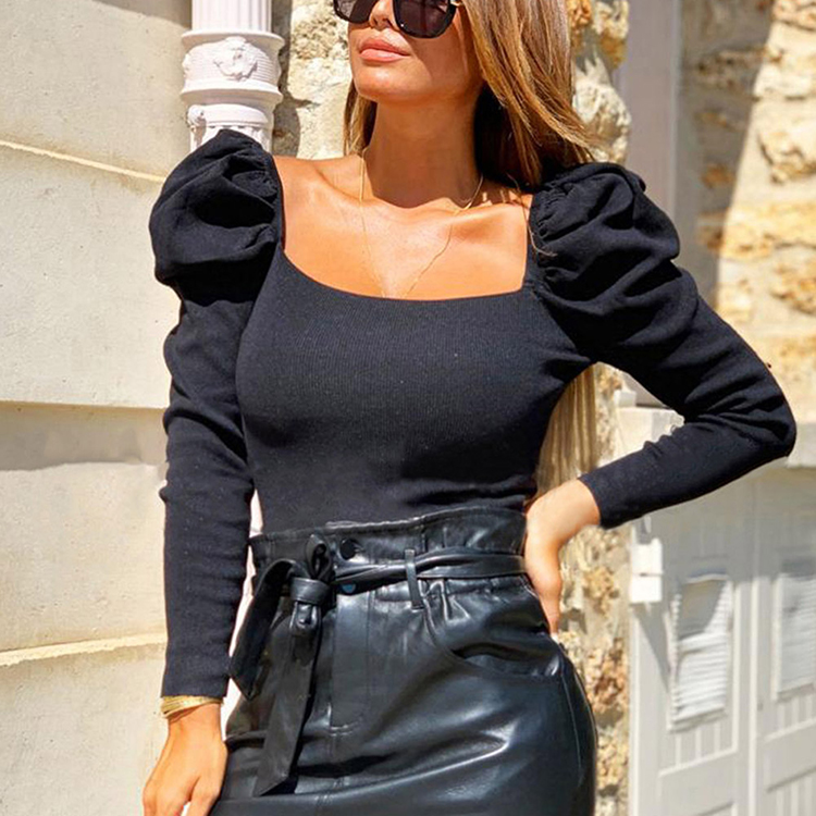 New Fashion Boat Collar Long-Sleeved Puff Sleeve Sexy Crop Tops For Women