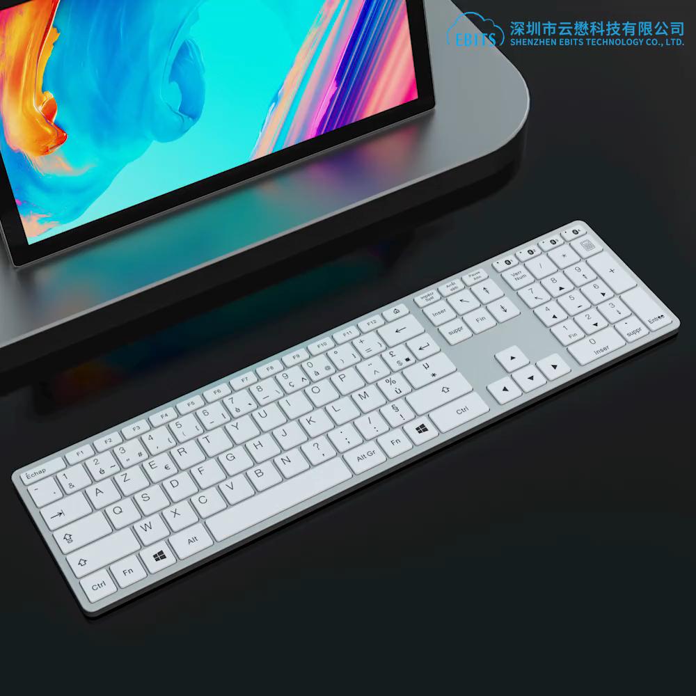 Keyboard USB Berkabel Aluminium Ukuran Penuh untuk Mac