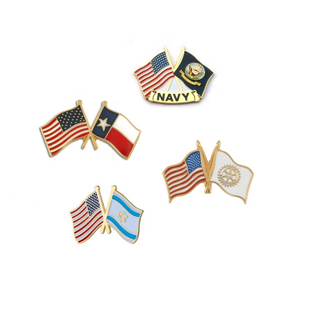 China Wholesale Kunden Billige Weiche Emaille Flagge Revers Pins Mit Schmetterling Pin
