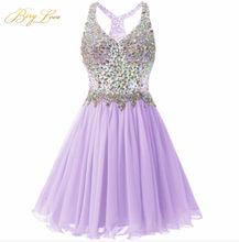 Короткое платье для выпускного вечера BeryLove, цвета шампанского, мини-платье с кристаллами, иллюзия, лиф, v-образный вырез, короткое платье, веч...(Китай)