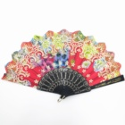 Beautiful Chinese polyester plastic hand fan with sequins
