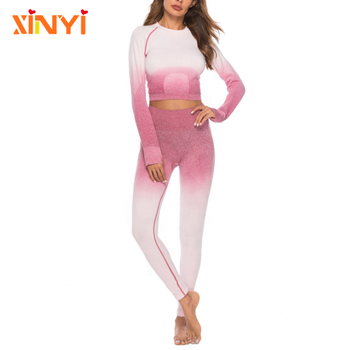 Hot Sale Sports Suits Long Sleeve Ladies Sexy Body Build Crop Top And Leggings of Women Seamless Sports Set