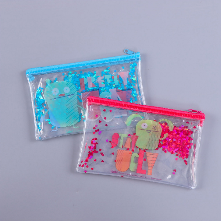 Flowing oil sequined ziplock pen pouch bag,creative transparent cosmetic bag