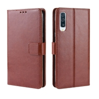 Texture Horizontal Flip Leather Case for Galaxy A70 with Holder & Card Slots & Photo Frame (Brown)