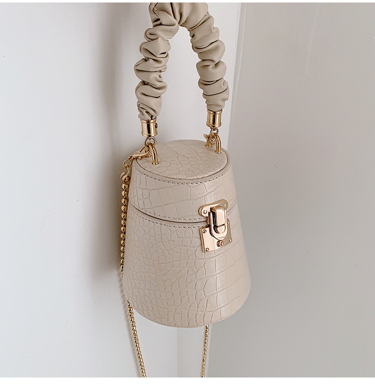2020 New Design Fashion Crocodile Print Bucket Bag Chain Crossbody Handbags Leather Small Shoulder Bag