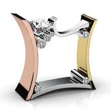 Новые розовые золотые браслеты с украшением в виде кристаллов Обручение кольца для мужчин и женщин квадратное кольцо ювелирные изделия жен...(Китай)