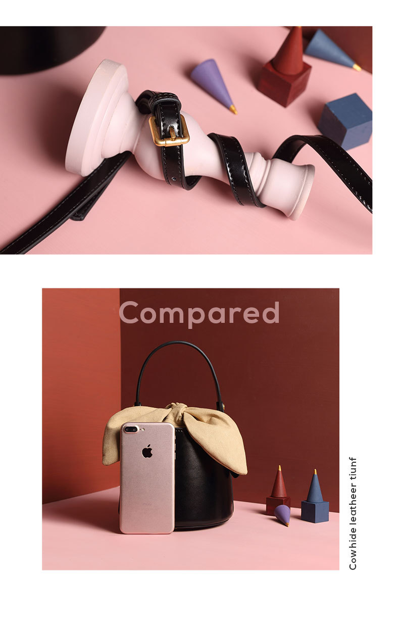 Design leather bucket bag 2019 new bow shoulder slung women's bag