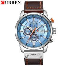 Мужские часы CURREN, модные повседневные спортивные часы от ведущего бренда, мужские кварцевые часы с кожаным ремешком, водонепроницаемые нар...(Китай)