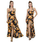 China Manufacturer Floral Printed Fashion Women Dress Casual Deep V Neck Sleeveless Summer Beach Long Maxi Dresses