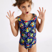 OEM custom digital printed bikini kids one piece swimwear young girls bathing suit