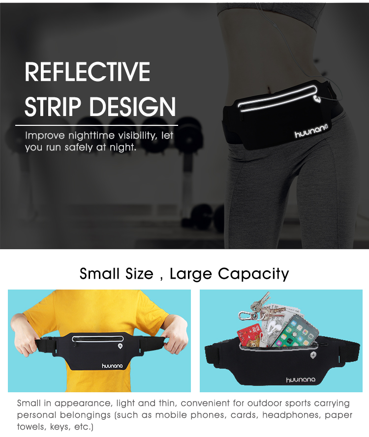 Workout Running Accessories Reflective invisible waist bag sport belt waterproof fanny pack