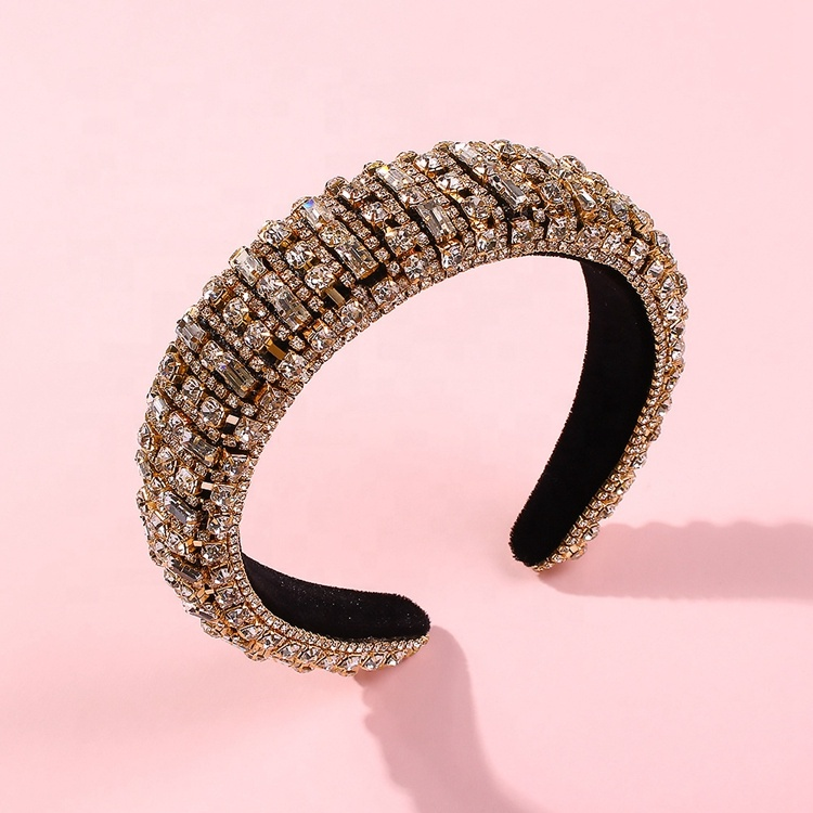 Bling rhinestone crystal diamond <strong>headband</strong> for women fashion handmade glam studded <strong>headbands</strong> hair hoop