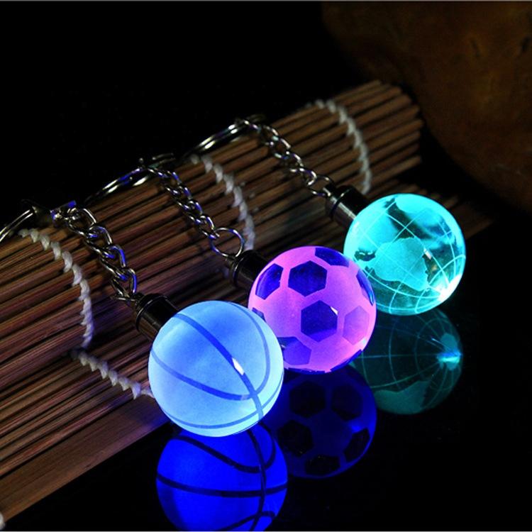 3d लेजर एलईडी ग्लोब खेल बास्केटबॉल फुटबॉल फुटबॉल टेनिस ग्लास क्रिस्टल गेंद चाबी का गुच्छा