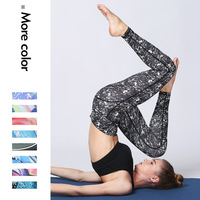 Printing stitching fitness running pants dance stepping tight sports yoga pants women running leggings