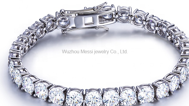 Messi Jóias 0.5ct/5 milímetros DEF design clássico 18 14k k corrente de ouro branco moissanite pulseiras de tênis