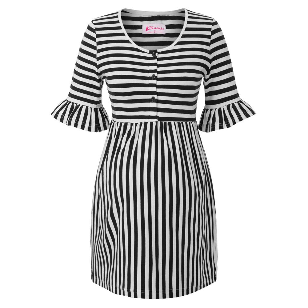 Pregnant Women Striped Mini Dress Breastfeeding Maternity Casual Nursing Dress