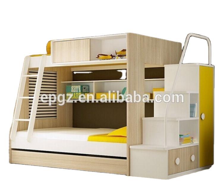 उच्च गुणवत्ता के साथ छात्रावास फर्नीचर लकड़ी चारपाई बिस्तर लॉकर के लिए पक्ष सीढ़ी बच्चों