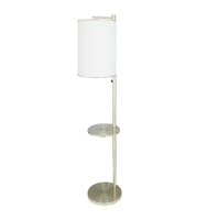 Modern Hotel Floor Lamp with Table Indoor Brushed Nickel Floor Lamp Standing with Fabric Shade