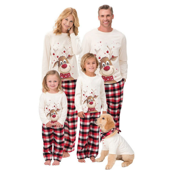 Wholesale Family Matching Outfits 2 Pieces Printed Family Christmas Pajamas