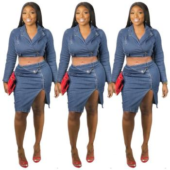 Ready to ship OEM ODM women fashion patchwork jeans denim skirt and top two piece set Q395