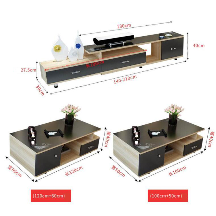 New Tempered Glass TV Table Simple Fashion TV Cabinet With Drawer