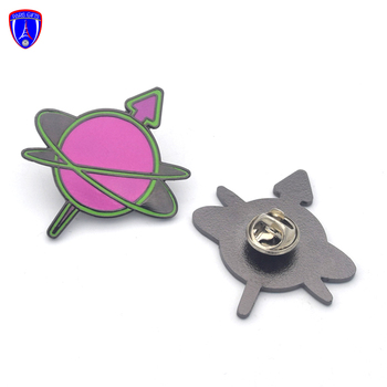 Custom hard enamel glow in the dark pin custom black plated meteor shooting star lapel pins with butterfly clutch