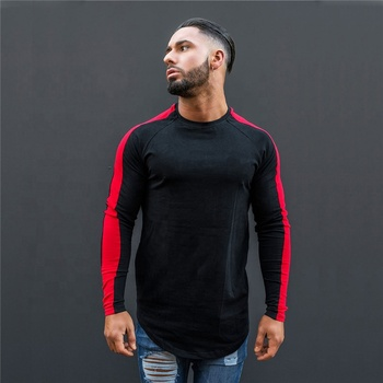 Factory Wholesale Running Fitted Men's Gym T Shirt Long Sleeve Printed Gym Wear