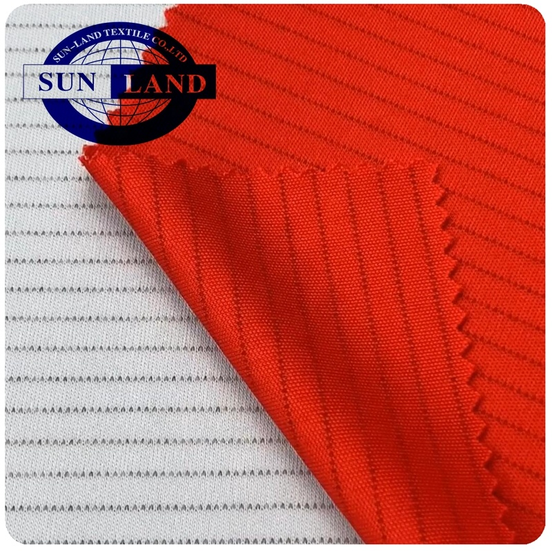 Anti-static dry fit polyester 1.8%carbon knit interlock fabric for work clothes