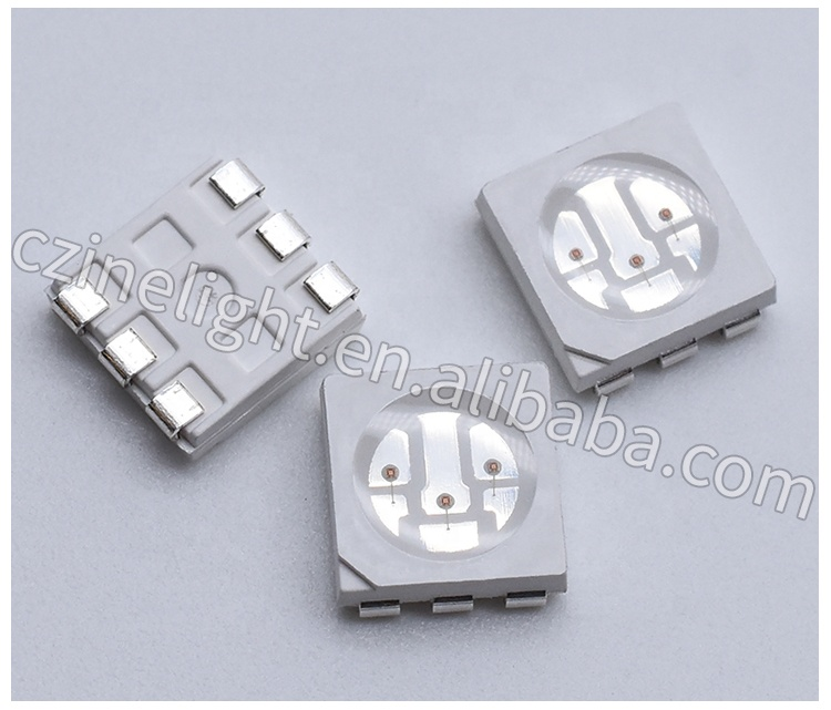 5050 Yellow led 588-592nm 6PINS 3CHIPS 2.0-2.4V LED smd diode 1600-1800mcd High brightness Chip SMD