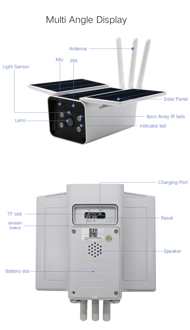 Security system for houseland and outdoor 2.0 megapixel low power solar WIFI IP camera aximum resolution 1920*1080