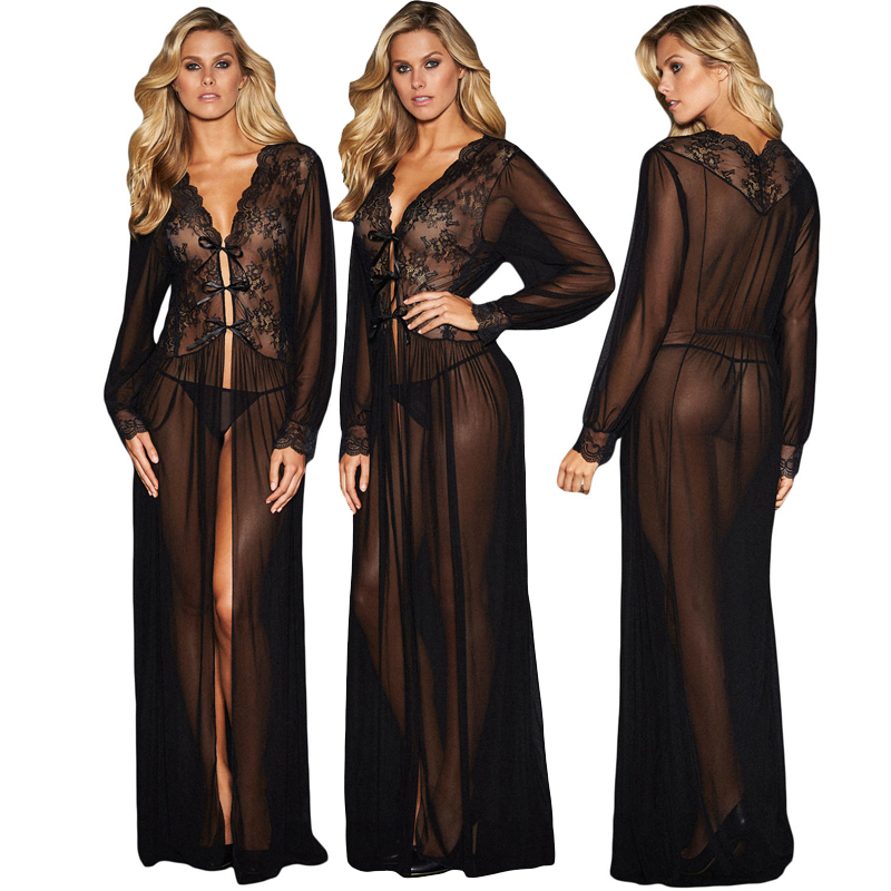 Wholesale Sexy Nighty Design Black Sheer Long Sleeve Lace Transparent Night Gown For <strong>Woman</strong>