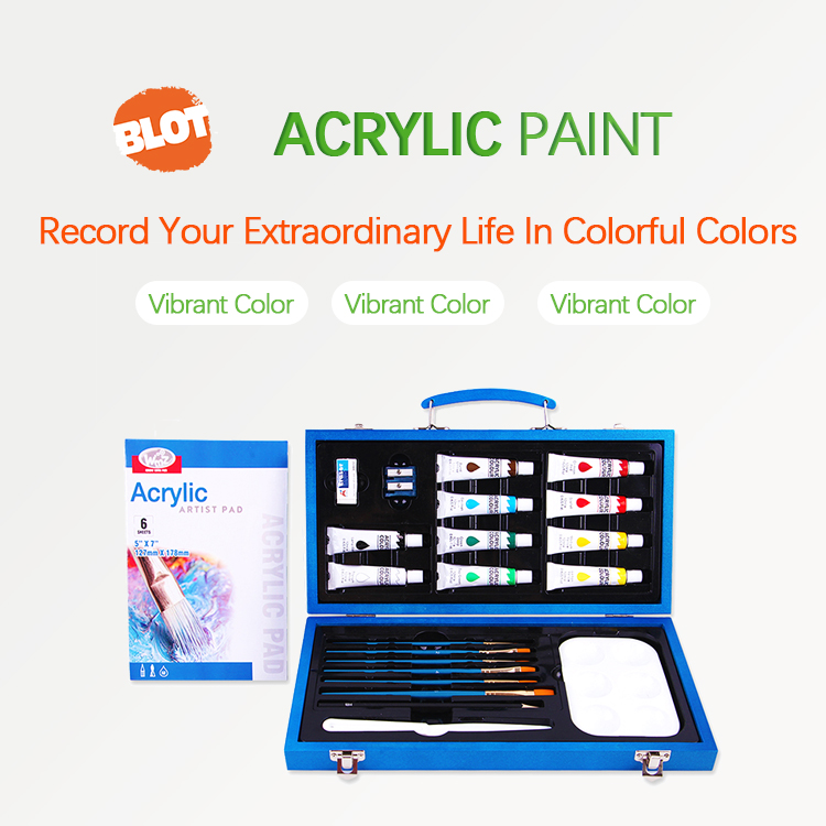 BLOT RST80007  Metallic Blue Beginner Students Wooden Art Acrylic Paint Set With Brushes And Pallet