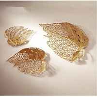 Modern hollow out metal leaf shape wall hangings for living room decor