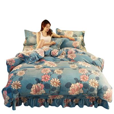 Nhà thiết kế 3 cái giường có in thiết fleece cực tây ban nha tấm ga trải giường 1 cái giường gối