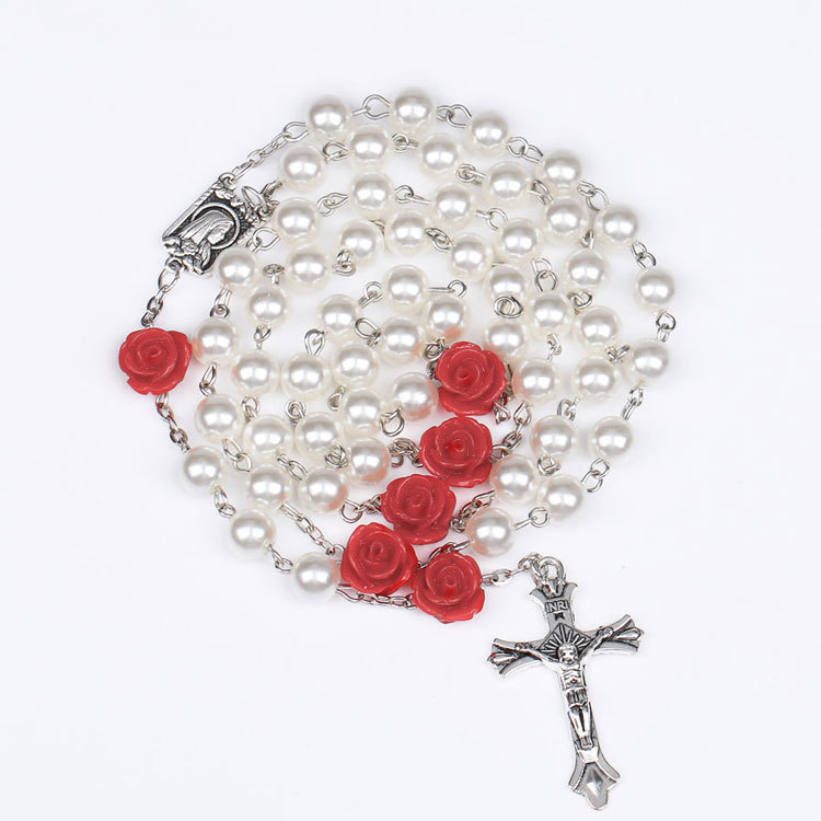 Nice Hand Made White Pearl Beads with Red rose flowers Catholic Rosary Necklace Lourdes Medal & Cross