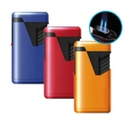 Piezo Fire Storage Custom Logo Refillable Butane Double Barrel Jet Flame Torch Lighter