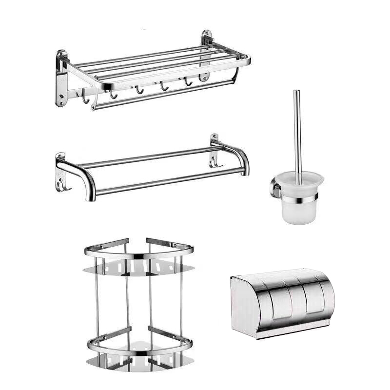 Modern design perfect detail muur gehangen mounted chrome bad set 304 rvs wc badkamer accessoires sets