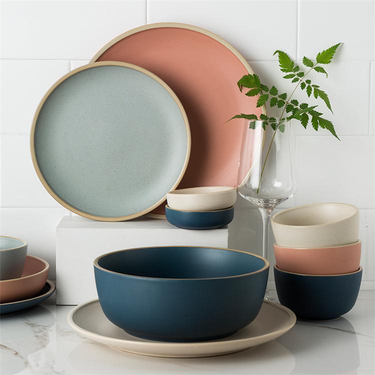 European style tableware matte glaze speckled dinner plate fine porcelain dinner set for restaurant