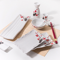 Modern Red Plum Japanese Dinner Set, Porcelain Japanese Plates Sushi, High Quality Wedding Ceramic Japanese Stylish Tableware&