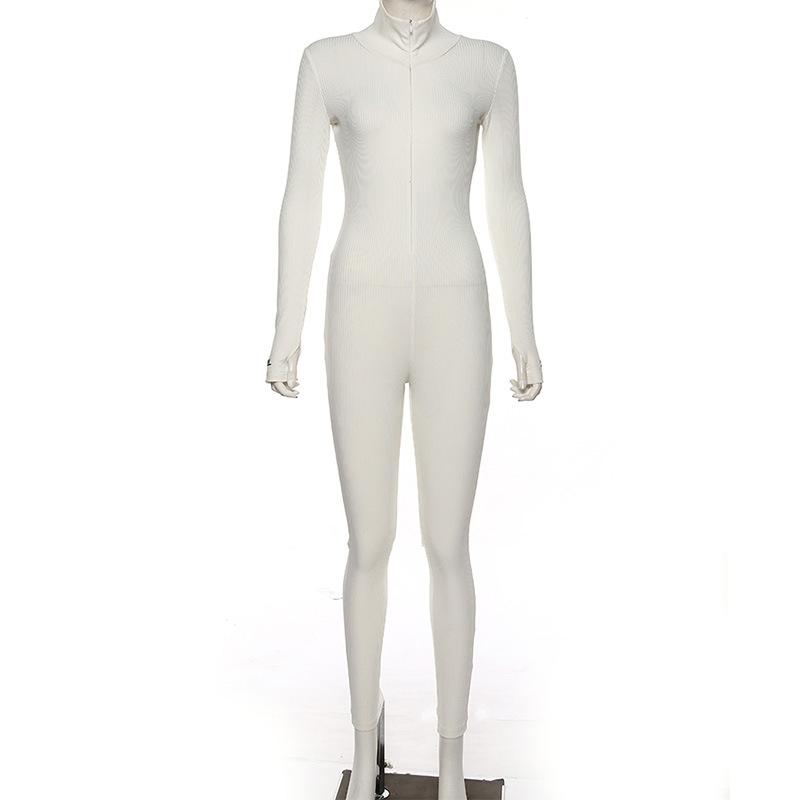 Biker shorts jumpsuit turtleneck full sleeve jumpsuits 2020 women fitness slim rompers zipper long bodysuit skinny jogger Y12766