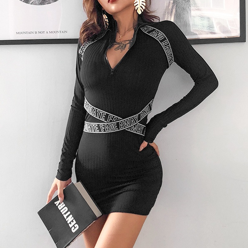 R30416S wholesale fashion zipper plain long sleeve slim women's dress
