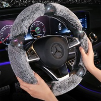Winter car steering wheel cover plush thermal cover personality creative inside articles female general purpose