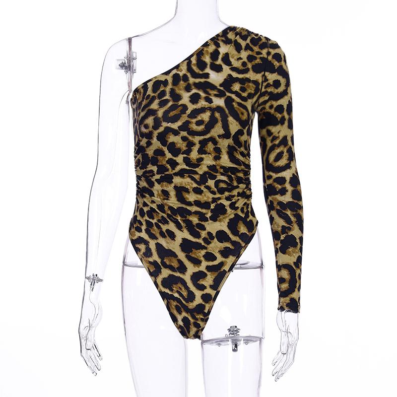 Hugcitar 2020 леопардовое Леопард одно плечо с длинным рукавом Лонгслив сексуальный костюм в обтяжку Осень Зима Женское уличная одежда наряды Кл...(Китай)
