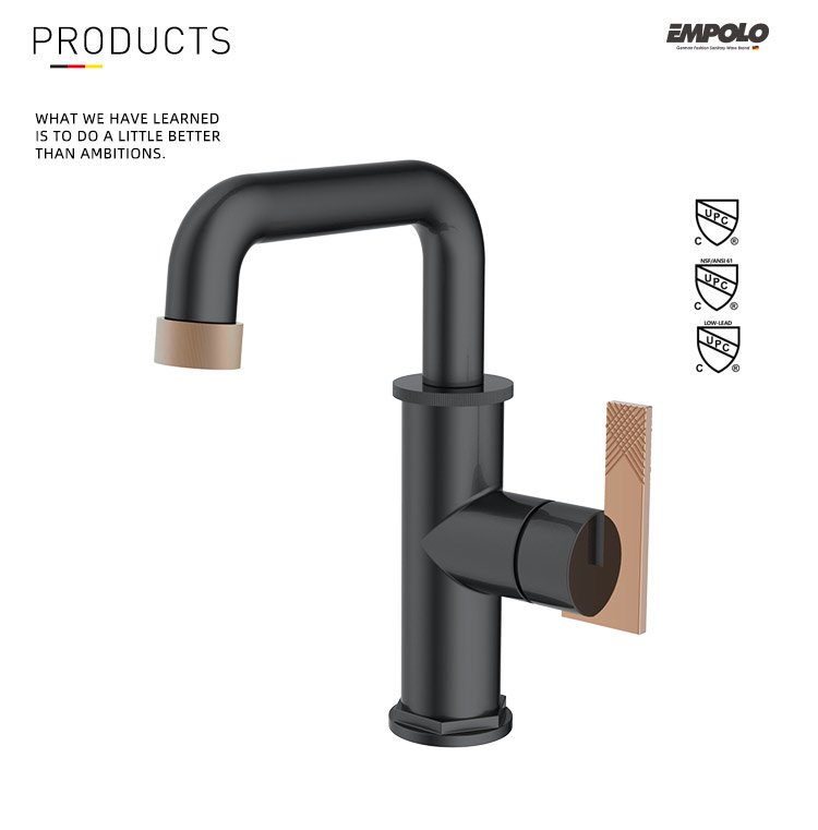 High Body Modern Design Matte Black Sink Faucet griferia negra Single Lever Basin Mixer